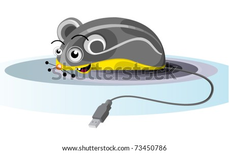 funny grey electronic mouse with usb plug