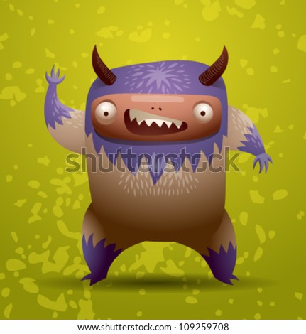 Funny hairy monster, vector 03 - stock vector