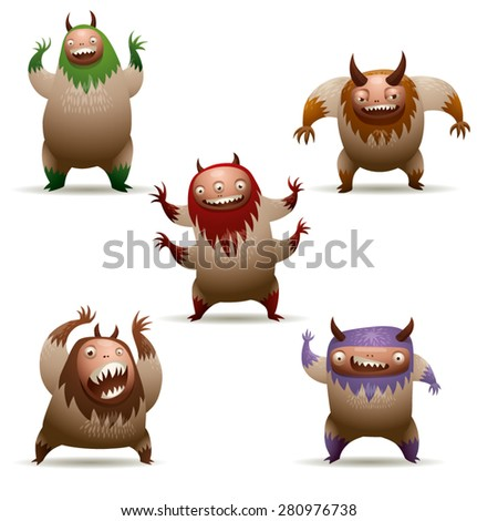 Funny hairy monsters set, vector - stock vector