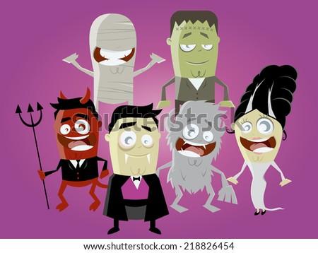 funny halloween characters - stock vector