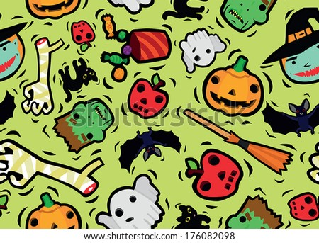 Funny Halloween Characters Seamless Background - stock vector