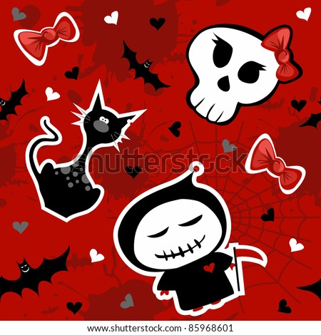 Funny halloween characters seamless pattern background. Vector available - stock vector