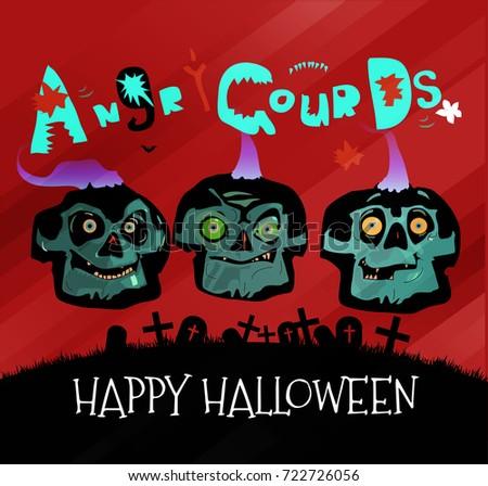 Funny Halloween Evil Dark Small Gourd Stock Vector 722726056 ...