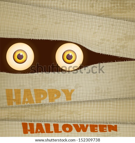 Funny Halloween greeting card (invitation) with big eyes of mummy. - stock vector