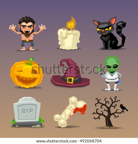 Funny halloween icons-set 4