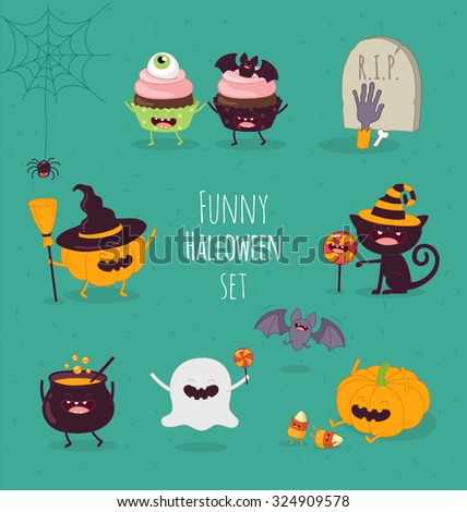 Funny Halloween set. Vector illustration - stock vector