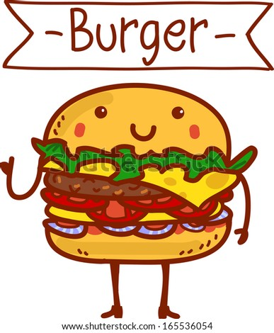 Funny hamburger with feet and hands smiling - stock vector