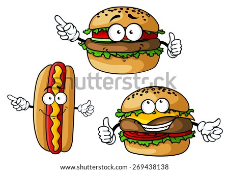 Funny hamburgers and hot dog cartoon characters with appetizing patties, sausage, vegetables, cheese and mustard isolated on white background for fast food cafe or restaurant menu design - stock vector