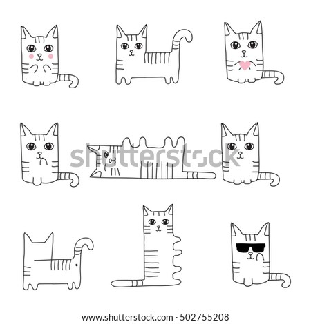 Funny hand drawn cats. Animals vector illustration for style greeting card design, t-shirt print.