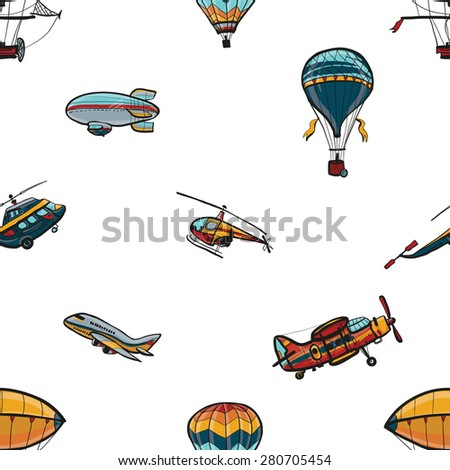 Funny hand drawn kids toy aeronautic transport. Baby bright cartoon helicopter, aerostat, balloon, biplane, airship, blimp, plane vector seamless pattern on white background. Set of isolated elements. - stock vector