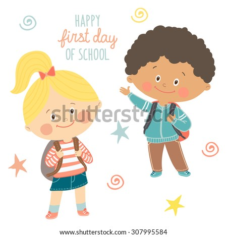 Funny hand drawn kids with backpacks. Cute boy and girl with schoolbags. Happy first day of school card design.Cartoon vector eps 10 illustration on white background in flat style - stock vector