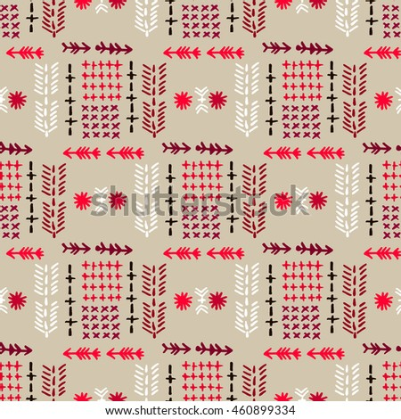 Funny hand drawn seamless pattern with cute birds in the Russian stile..Vector seamless pattern with birds in the Russian style.Print on  wallpaper, paper, packaging, textiles. - stock vector