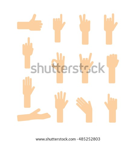 Funny hands set. Cartoon gestures collection. Communication with hands language.