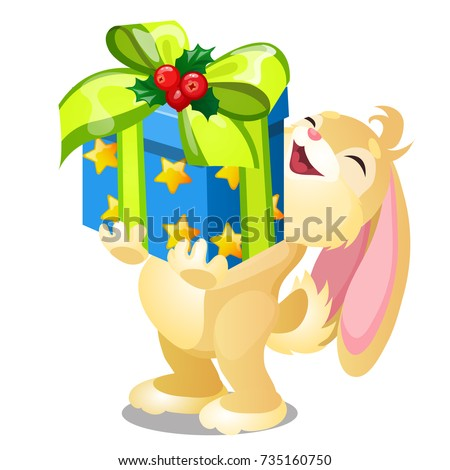 Funny happy animated bunny received gift stock vector 735160750 funny happy animated bunny received a gift laughs and holds in paws box with gift negle Images