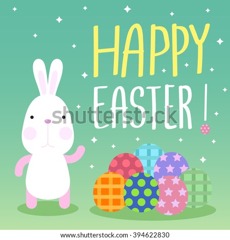 Funny Happy Easter concept with Bunny and colorful easter eggs - stock vector