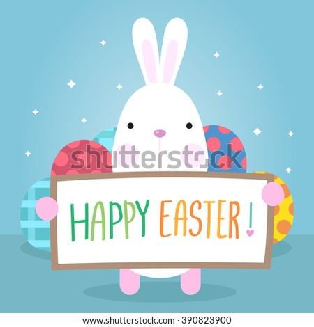 Funny Happy Easter with Eggs and easter bunny - stock vector