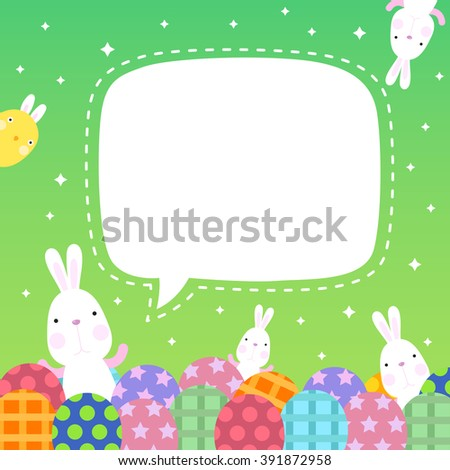 Funny Happy Easter with Eggs and easter bunny and cute chick with copy space  - stock vector