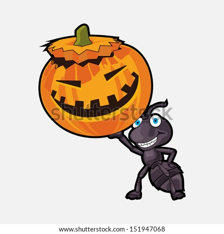 Funny Happy Halloween background with an ant holding a smiling pumpkin on abstract background.