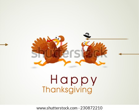 Funny Happy Thanksgiving Day celebrations concept with cute turkey birds running in fear on shiny grey background. - stock vector