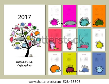 Funny hedgehogs, calendar 2017 design