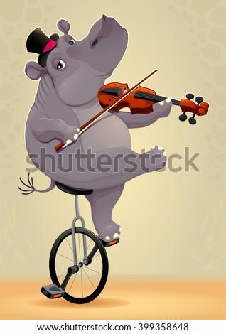 Funny hippo on an unicycle. Vector cartoon illustration - stock vector
