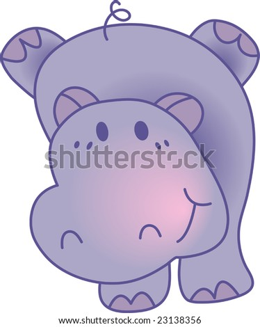 Funny hippopotamus - vector illustration. Fully editable, easy color change.