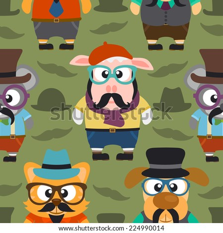 Funny hipster animals seamless card,vector