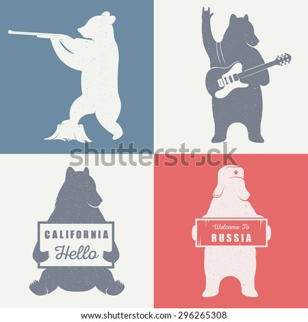 Funny hitchhiking bear with California sign and Russia sign  on a white background for billboards, posters and T-shirts. Vintage Illustration bear hunter and bear guitarist - stock vector