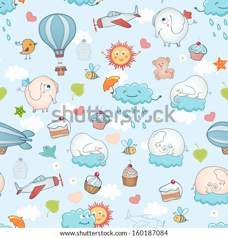 Funny holiday seamless background. - stock vector