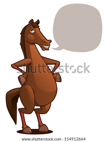funny horse cartoon character - stock vector