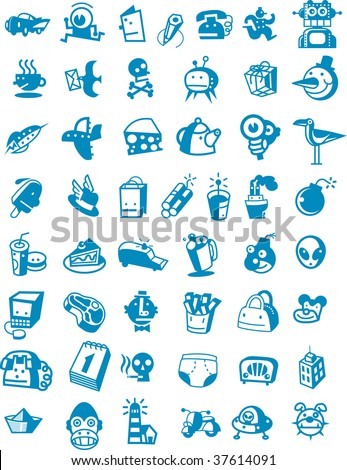 funny icons - stock vector