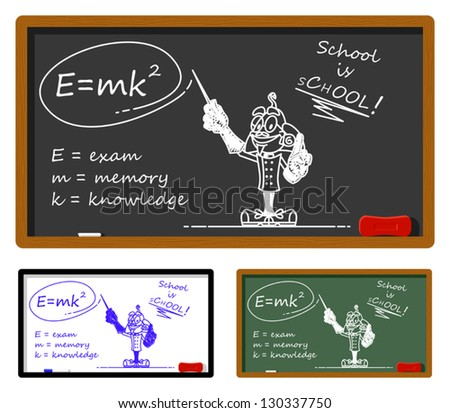 Funny illustration describing the rule to pass the exam. On the chalkboard it's drawn a bizarre scientist. You can easily clear the chalkboard and write your text. - stock vector