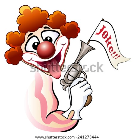 Funny illustration of laughing clown with a fake revolver - stock vector