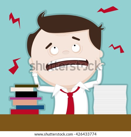 Funny illustration of overworked businessman