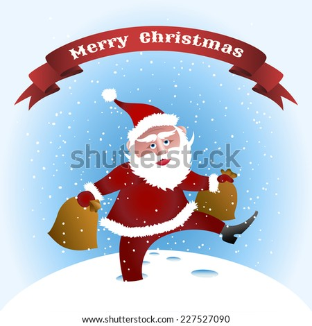 funny illustration of Santa Claus with bags of gifts in deep snowdrifts