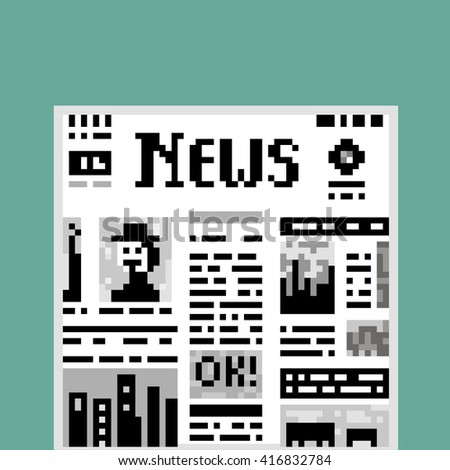 Funny illustration pixel art 8 bit black and white newspaper isolated on green background with lettering News text OK! columns images / vector eps 10 - stock vector