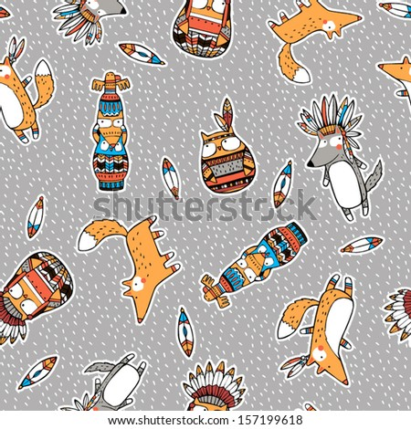 Funny indian animals pattern - stock vector