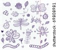 Funny insects - cute doodle set scrapbook page - stock photo