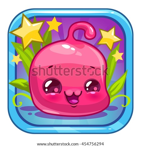 Funny jelly alien character. Cute square cartoon app icon for web or web design. Application vector logo design element. - stock vector