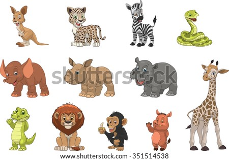 Funny kids animals - stock vector
