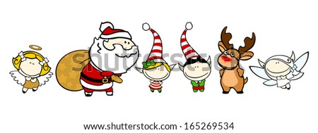 Funny kids #76 - Christmas characters - stock vector