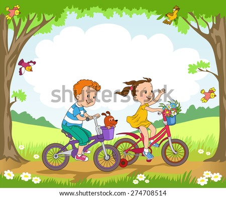 Funny kids ride bikes along the forest summer day. - stock vector
