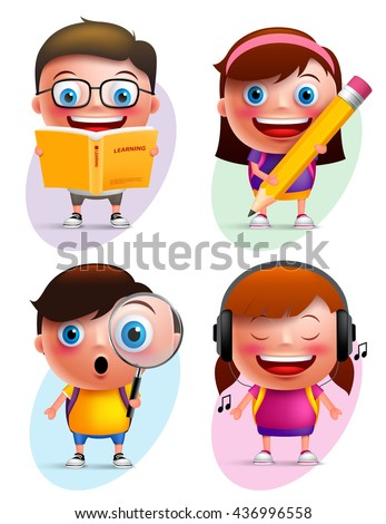 Funny kids vector characters colorful collection reading book, writing, exploring and listening music isolated in white background. Vector illustration  - stock vector