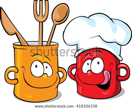 funny kitchen pot character - pot vector illustration - stock vector