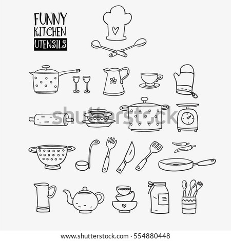 Funny kitchen utensils set made pan stock vector 554880448 for Funny kitchen set