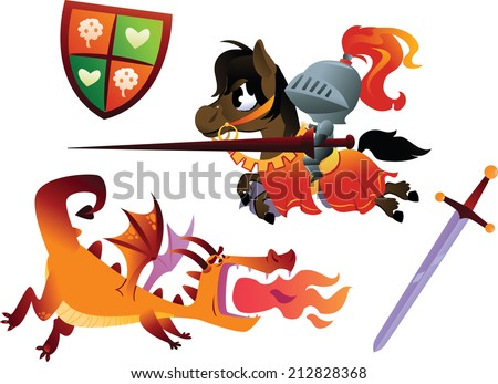 Funny Knight Riding a Horse and Cartoon Dragon - stock vector