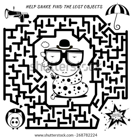 Funny labyrinth. Help the detective snake find the lost object. Vector cartoon snake illustration. Rebus in black color on Isolated background. Eps 8 - stock vector