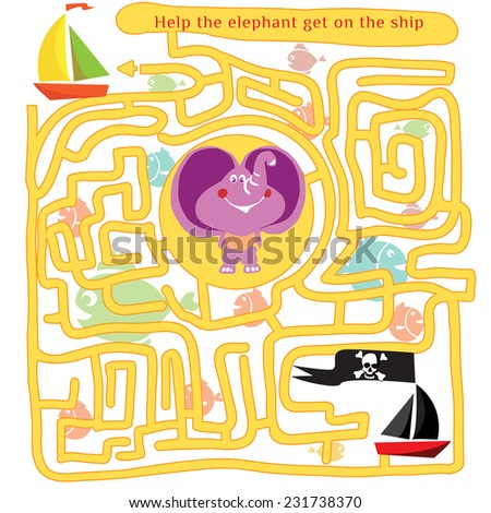 Funny labyrinth. Help the elephant get out of the maze. Game save animal from the pirates. Illustration with tangled lines. Funny cartoon character. Vector illustration. Isolated on white background - stock vector