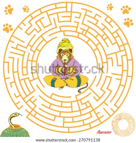 Funny labyrinth. Help the leopard find the snake. Themed maze game. Vector cartoon leopard illustration. Isolated on white background. Answer included. Eps 8 - stock vector