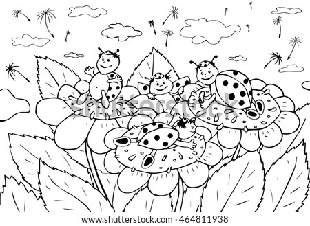 coloring pages of flying ladybugs - photo#26